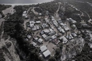 Orleans Bay Caravan Park - From above (gray)