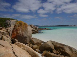 Orleans Bay Caravan Park - Big Wharton stones and cliffs